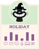 Cartoon Witch Cat Halloween Graphic Royalty Free Stock Photography