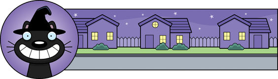 Cartoon Witch Cat Halloween Graphic Stock Image