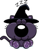 Cartoon Witch Cat Napping Stock Photo