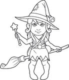 Cartoon witch coloring book. Cute cartoon witch coloring book Stock Image