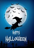 Cartoon witch flying on broom stick with full moon background Stock Photos