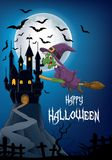 Cartoon witch flying on broom stick with full moon and castile background Stock Images