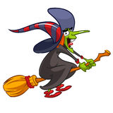 Cartoon witch flying on a broom. Vector Halloween illustration with a funny witch  on white.  Royalty Free Stock Photos