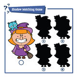Cartoon Witch game. Vector illustration of shadow matching game with happy cartoon Witch for children Royalty Free Stock Photos