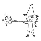 Cartoon witch girl casting spell Royalty Free Stock Photo