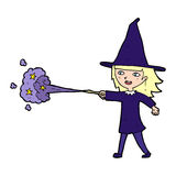 Cartoon witch girl casting spell Royalty Free Stock Images