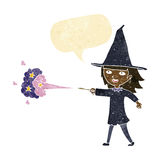 Cartoon witch girl casting spell with speech bubble Stock Images