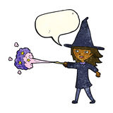Cartoon witch girl casting spell with speech bubble Stock Photography