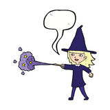 Cartoon witch girl casting spell with speech bubble Stock Photos