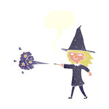 Cartoon witch girl casting spell with speech bubble Stock Image