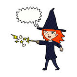 Cartoon witch girl casting spell with speech bubble Stock Photo