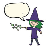Cartoon witch girl casting spell with speech bubble Royalty Free Stock Photos