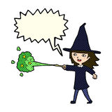 Cartoon witch girl casting spell with speech bubble Royalty Free Stock Photography