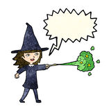 Cartoon witch girl casting spell with speech bubble Royalty Free Stock Photo