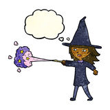 Cartoon witch girl casting spell with thought bubble Stock Photography