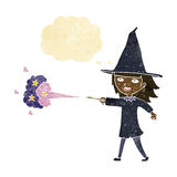 Cartoon witch girl casting spell with thought bubble Royalty Free Stock Image