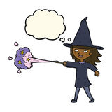 Cartoon witch girl casting spell with thought bubble Stock Images