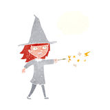Cartoon witch girl casting spell with thought bubble Stock Photo