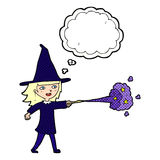 Cartoon witch girl casting spell with thought bubble Royalty Free Stock Photos