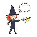 Cartoon witch girl casting spell with thought bubble Royalty Free Stock Photo