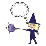 Cartoon witch girl casting spell with thought bubble Royalty Free Stock Images