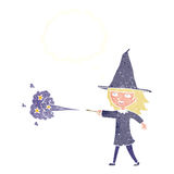 Cartoon witch girl casting spell with thought bubble Stock Image