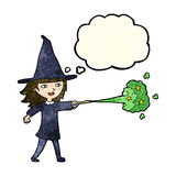 Cartoon witch girl casting spell with thought bubble Stock Photos