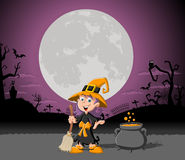 Cartoon witch girl on halloween cemetery Stock Photos