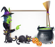 Cartoon Witch Halloween Sign Stock Image