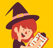 Cartoon Witch Holding Form. Vector illustration of a cartoon witch wearing a hat, holding and filling a form Royalty Free Stock Image