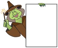 Cartoon Witch Holding Sign Royalty Free Stock Image