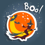 Cartoon witch and moon Stock Photo