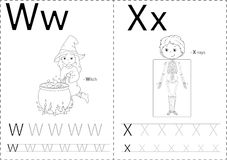Cartoon witch and x-rays. Alphabet tracing worksheet vector illustration