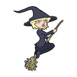 Cartoon witch riding broomstick Royalty Free Stock Photography