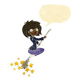 Cartoon witch riding broomstick with speech bubble Stock Photography