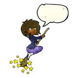 Cartoon witch riding broomstick with speech bubble Stock Photos