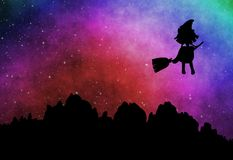 Cartoon witch silhouette flying on broomstick in the evening Stock Images