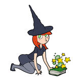 Cartoon witch and spell book Royalty Free Stock Images
