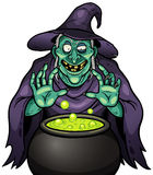 Cartoon Witch. Vector illustration of Cartoon Witch with cauldron Royalty Free Stock Photo