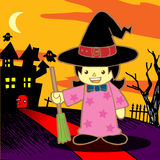 Cartoon Witch. Vector illustration. Cartoon Witch Girl. Vector illustration Stock Photos