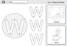 Cartoon witch and window. Alphabet tracing worksheet: writing A- Stock Photo