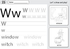 Cartoon witch and window. Alphabet tracing worksheet: writing A- Royalty Free Stock Photo