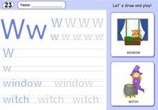 Cartoon witch and window. Alphabet tracing worksheet Stock Photos