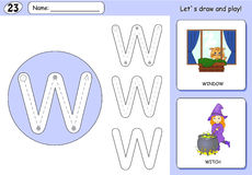 Cartoon witch and window. Alphabet tracing worksheet Royalty Free Stock Photography