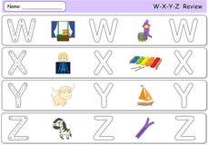 Cartoon witch, window, x-ray boy, xylophone, yak, yacht, zebra a. Nd zipper. Alphabet tracing worksheet. W-X-Y-Z Review Stock Image