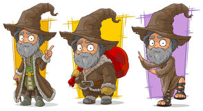 Cartoon wizard with big hat character vector set Royalty Free Stock Photos