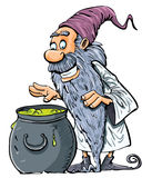Cartoon Wizard with boiling cauldron. Isolated on white royalty free illustration