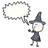 Cartoon wizard casting spell Stock Images
