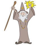 Cartoon Wizard Casting Spell Stock Photo