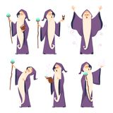 Cartoon wizard character in various poses. Magician sorcerer with wand, witchcraft and spell, vector illustration Stock Photos